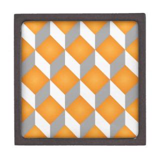 Geometric 3d cube pattern - retro design 2 premium trinket box