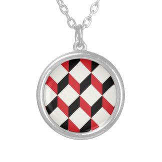 Geometric 3d cube pattern - retro design round pendant necklace