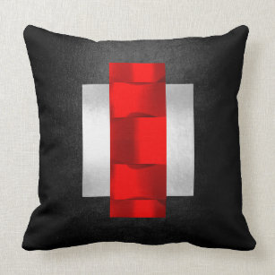 Geometric 3D Dimensional Red Black Gray Silver Throw Pillow