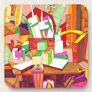 Geometric Abstract Art Cork Coasters