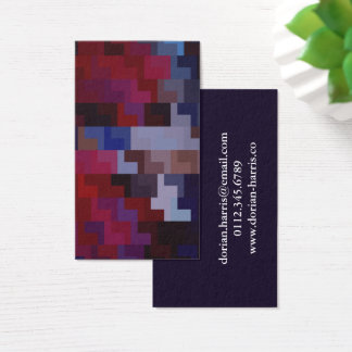 Geometric Abstract Art | Purple and Blue Tiles Business Card