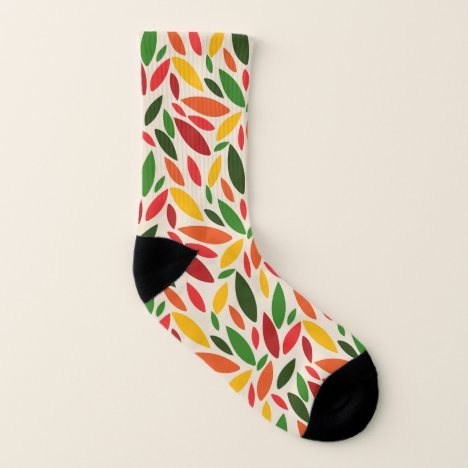 Geometric abstract colorful autumn leaves socks