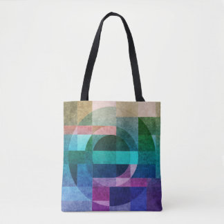 Geometric abstract colorful circle textured tote bag