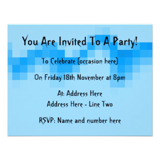 Geometric Abstract Design in Cool Blues Personalized Announcements