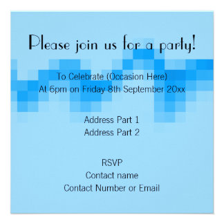 Geometric Abstract Design in Cool Blues Invitations