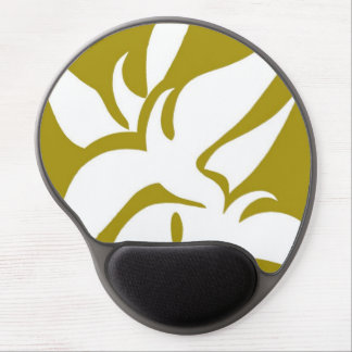 Geometric Abstract Floral Design Pattern Mustard Gel Mouse Pads