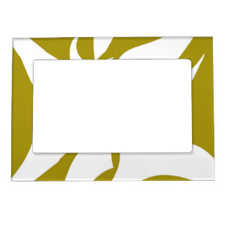 Geometric Abstract Floral Design Pattern Mustard Magnetic Frame