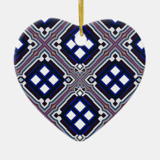 Geometric Abstract Pattern in Blue and White Ceramic Ornament