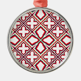 Geometric Abstract Pattern in Green, Red and White Metal Ornament