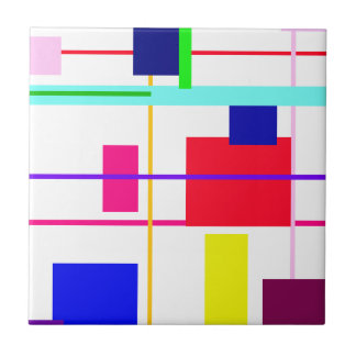 Geometric Abstract Red Square Ceramic Tile