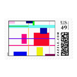 Geometric Abstract Red Square Postage