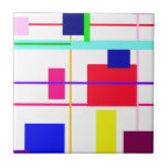 Geometric Abstract Red Square Small Square Tile