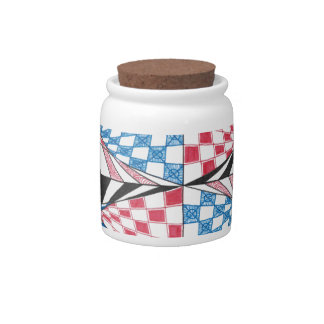 Geometric Abstract Red White Blue Bold Zen Design Candy Jar