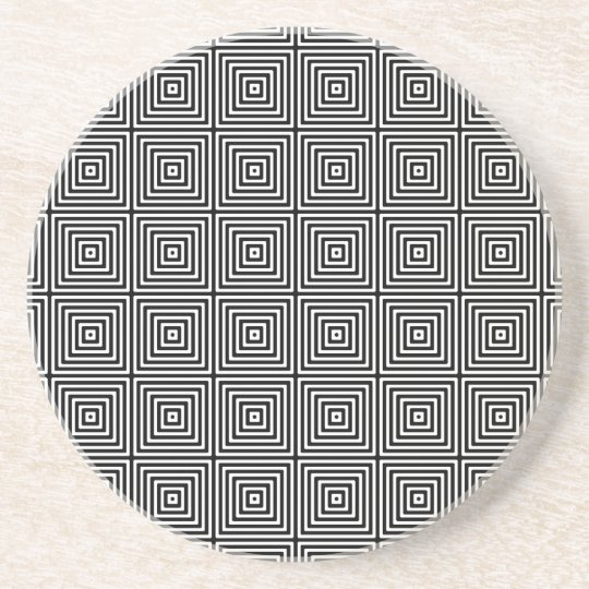 Geometric Abstract Squares in Black and White Drink Coaster