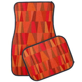 Geometric Abstract Triangles | orange red pumpkin Car Mat