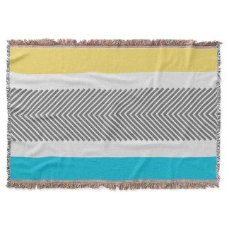 Geometric Abstract Yellow Aqua Modern Pattern Throw Blanket