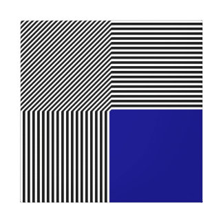 Geometric abstraction, B/W stripes blue square Stretched Canvas Prints