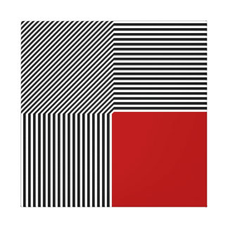 Geometric abstraction, B/W stripes red square Canvas Print