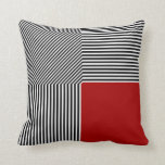Geometric abstraction, B/W stripes red square Pillows