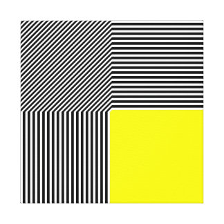 Geometric abstraction, B/W stripes yellow square Gallery Wrapped Canvas