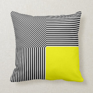 Geometric abstraction B W stripes yellow square Pillows