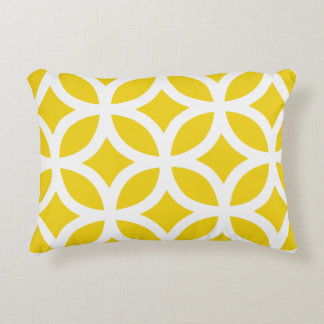 Geometric Accent Pillow - Lemon Yellow Pattern