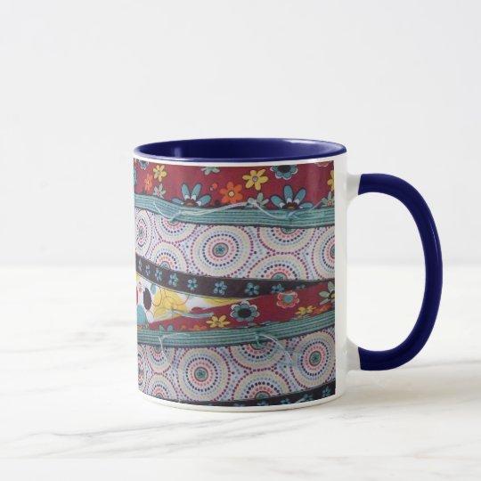 Geometric and floral mug