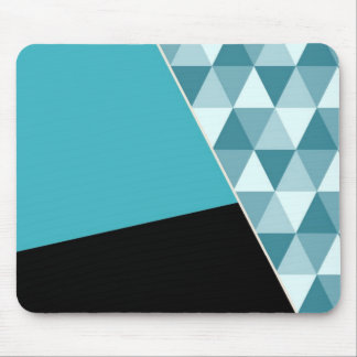 Geometric Aqua Black Color Block Mouse Pad