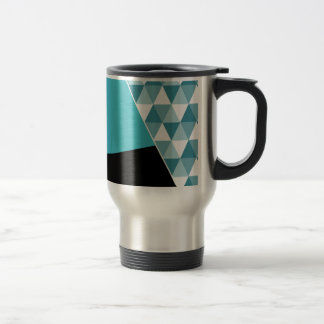 Geometric Aqua & Black Color Block Travel Mug