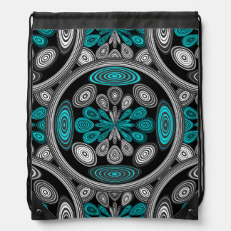 Geometric arabesque drawstring bag