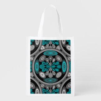 Geometric arabesque reusable grocery bag
