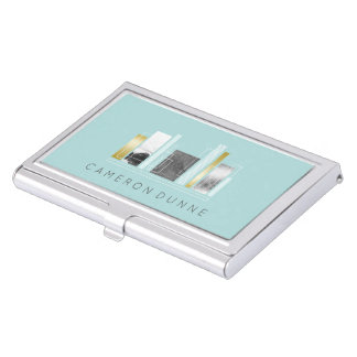 Geometric Architect Light Teal & Faux Gold Business Card Case