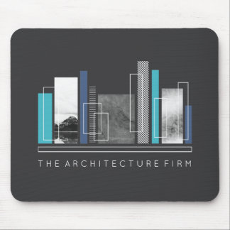 Geometric Architecture Blue & Gray Mouse Pad