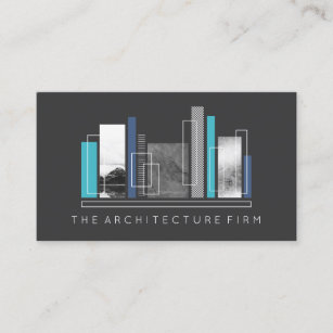 geometric architecture gray blue business card - Architect Business Card