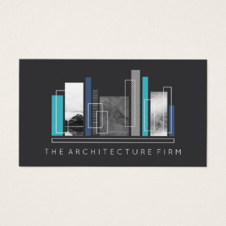 Geometric Architecture Gray & Blue Business Card