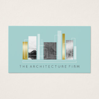 Geometric Architecture Light Teal & Faux Gold Business Card