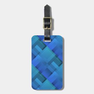 Geometric Art Blue Blocks Bag Tag