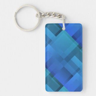 Geometric Art Blue Blocks Keychain