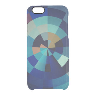 Geometric Art | Blue Circles, Arcs, and Triangles Clear iPhone 6/6S Case