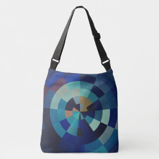 Geometric Art | Blue Circles, Arcs, and Triangles Crossbody Bag