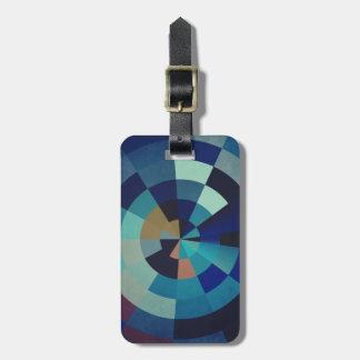 Geometric Art | Blue Circles, Arcs, and Triangles Luggage Tag