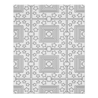 Geometric Art Coloring Poster Stars and Squares