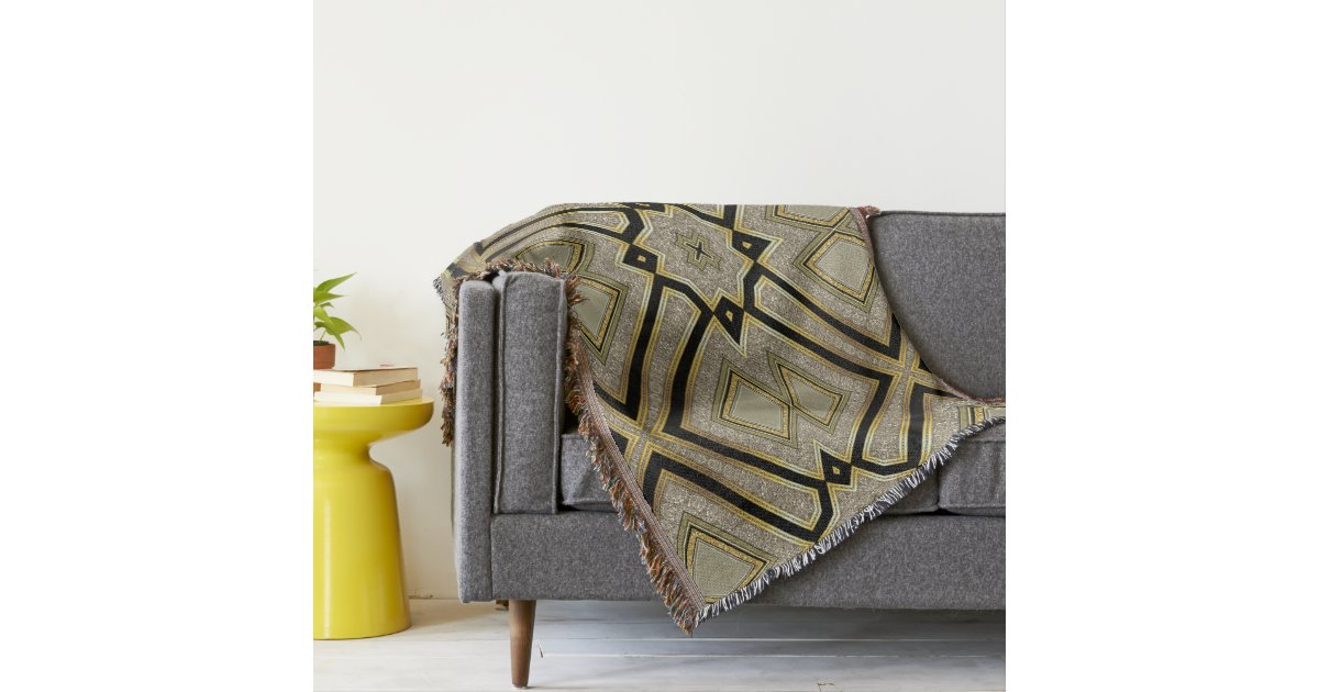 Geometric art deco gold taupe throw blanket zazzle - Deco taupe ...
