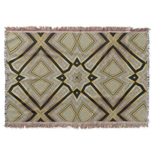 Geometric Art Deco Gold Taupe Throw Blanket