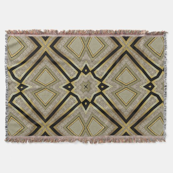 Geometric Art Deco Gold Taupe Throw Blanket