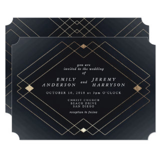 geometric art deco great gatsby wedding invitation - Great Gatsby Wedding Invitations