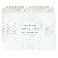 Geometric Art Deco White Gatsby Wedding Invitation