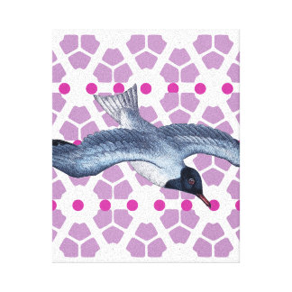 Geometric Art Hexagons and Bird Canvas Print
