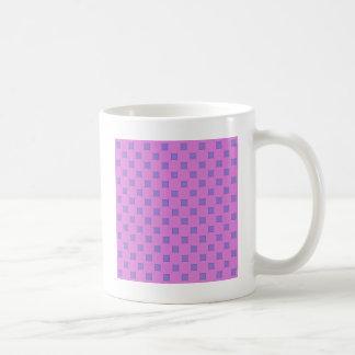 Geometric Art Lavender Lilac Squares On Rose Pink Coffee Mug
