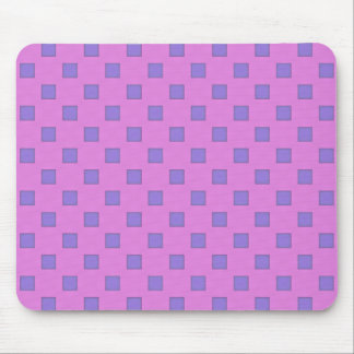 Geometric Art Lavender Lilac Squares On Rose Pink Mouse Pad